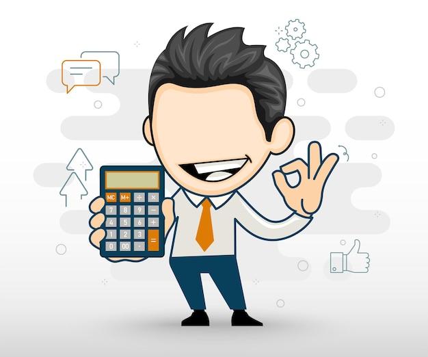 Uomo d'affari felice che tiene la calcolatrice e mostra il concetto di finanza ok in stile cartone animato