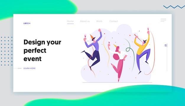 Happy business people party concept landing page set