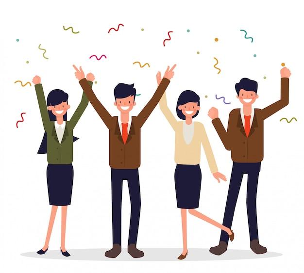 Gente di affari felice personaggio del partito di lavoro di squadra.