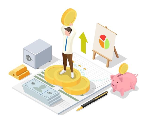Uomo d'affari felice che tiene la moneta del dollaro in mani alzate in piedi sulla cima della pila di monete, illustrazione isometrica di vettore piatto. concetto di gestione finanziaria.