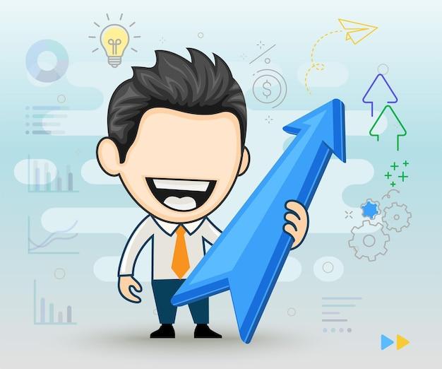 Uomo d'affari felice che tiene la crescita dell'economia concetto di vendita in crescita in stile cartone animato