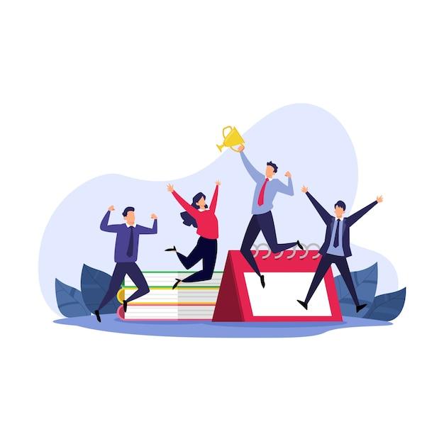 Happy businessman jump e tenendo la coppa d'oro illustrazione piatta