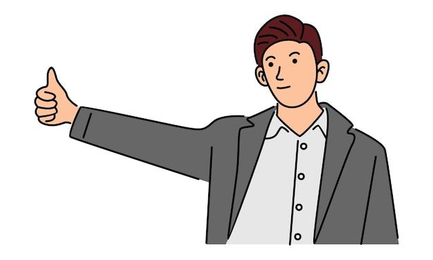Uomo d'affari felice che fa i pollici aumenta il buon lavoro del segno