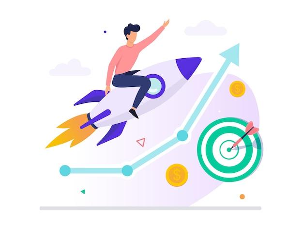 Uomo d'affari felice che si siede sul razzo e vola. idea di startup e crescita personale. occupazione professionale. illustrazione