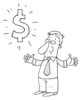 Uomo d'affari felice con il fumetto del simbolo di dollaro