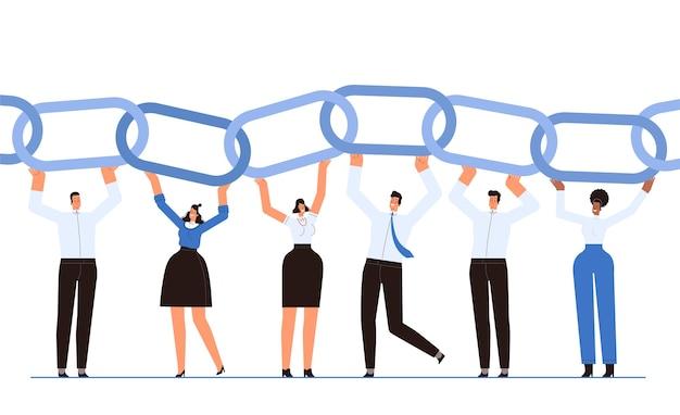 Uomini d'affari felici come anelli della catena di affari il concetto di lavoro di squadra e cooperazione di successo i dipendenti contribuiscono alla causa comune cartoon flat