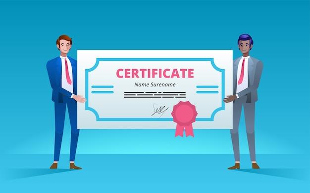 Uomini d'affari felici che mostrano un certificato del premio. partenariato e lavoro di squadra nel concetto di business.
