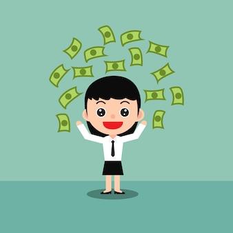 La donna di affari felice celebra il successo