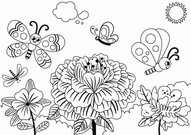 Farfalle felici che volano sui fiori in primavera in bianco e nero