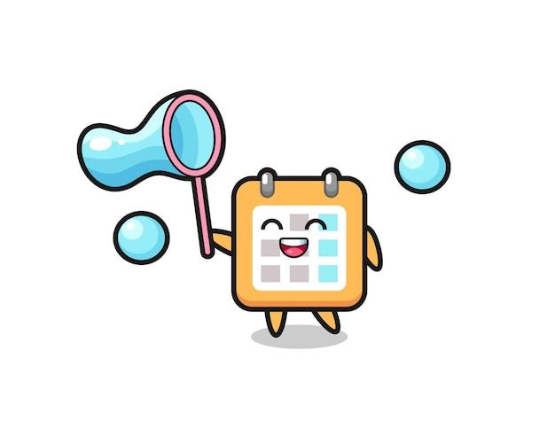 Cartone animato calendario felice che gioca bolla di sapone, design in stile carino per t-shirt, adesivo, elemento logo