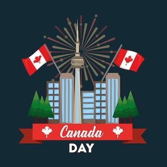 Felice giorno del canada scheda toronto città fuochi d'artificio bandiere