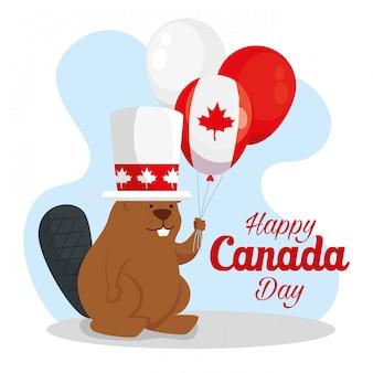 Felice giorno del canada con castoro e palloncini elio