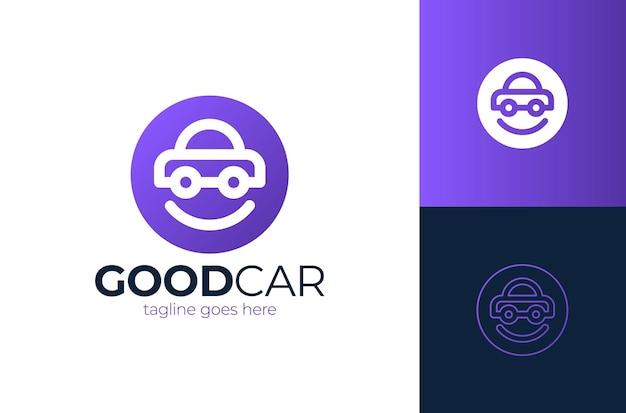 Happy car logo design modello di progettazione di logo auto sorriso