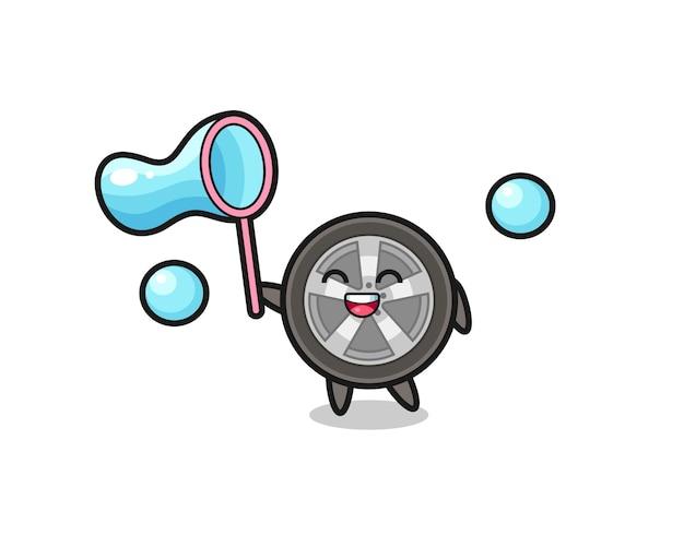 Cartone animato felice ruota dell'auto che gioca a bolle di sapone, design in stile carino per t-shirt, adesivo, elemento logo