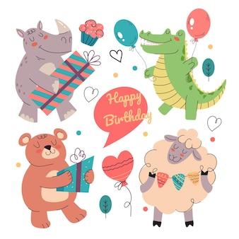 Animali felici del fumetto che tengono scatola regalo e decorazione e si congratulano con happy birthday