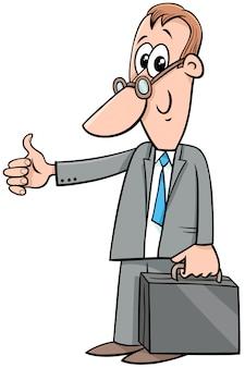 Uomo d'affari felice del fumetto con la cartella