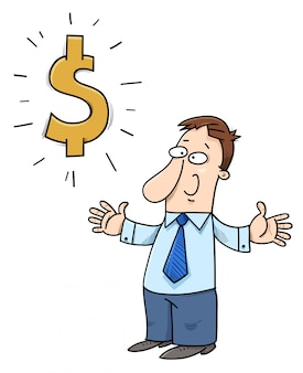 Uomo d'affari felice del fumetto con il simbolo di dollaro