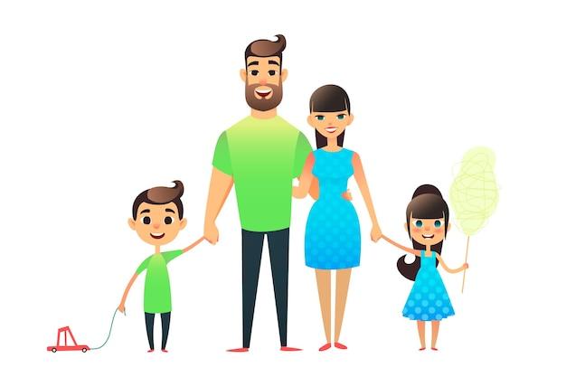 Ritratto di famiglia piatto felice del fumetto