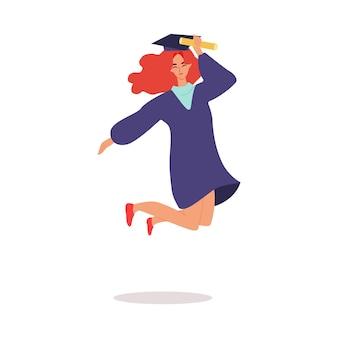 Studente felice dei cartoni animati in berretto da laurea che salta e tiene in mano il rotolo di documenti educativi