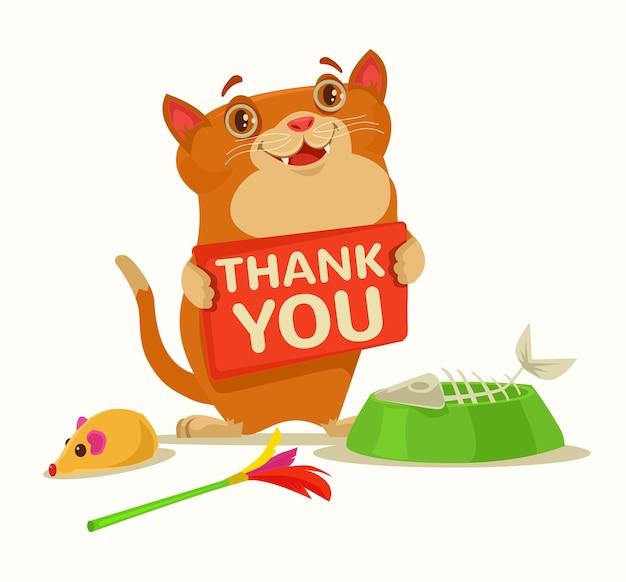 Piatto della tenuta del carattere del gatto felice con l'illustrazione piana del fumetto di parole di ringraziamento
