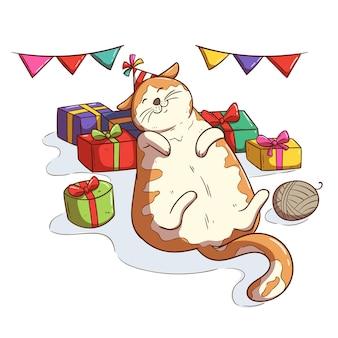 Gatto felice che dorme sulla confezione regalo