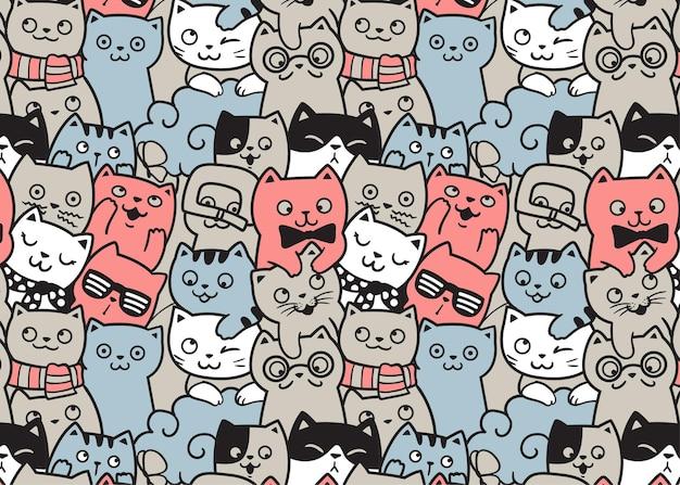 Fondo del modello di doodle di gatti felici
