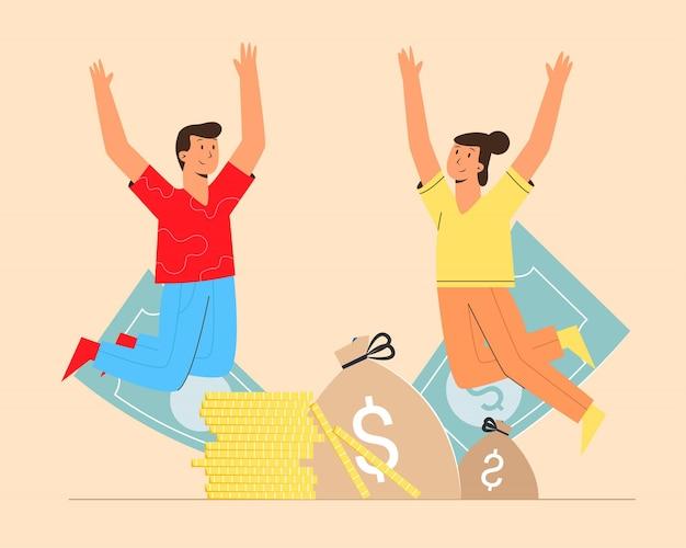 Felice di celebrare la crescita del reddito con l'uomo e la donna