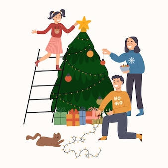 Famiglia felice del personaggio che decora l'albero di natale nella celebrazione dell'inverno.