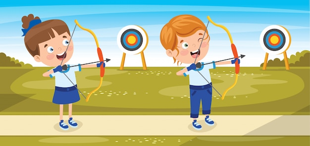Personaggio felice giocando a tiro con l'arco