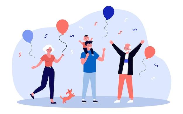 Personaggi felici che celebrano la festa con i nonni. palloncino, ragazzo, illustrazione vettoriale piatta felicità