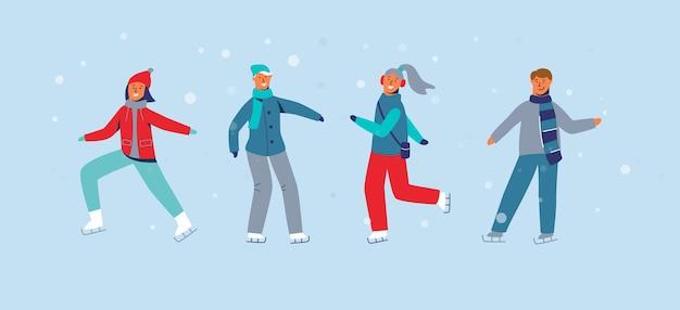 Personaggi felici che pattinano sulla pista di pattinaggio. pattinatori sul ghiaccio di persone di stagione invernale. allegro uomo e donna in abiti invernali sul paesaggio innevato.