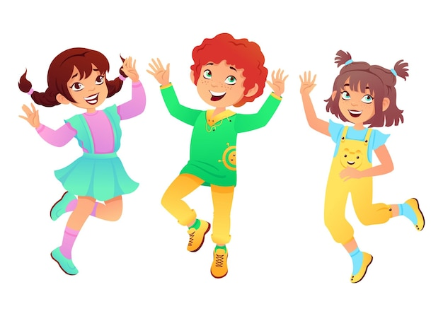 Bambini divertenti infanzia felice saltando e giocando