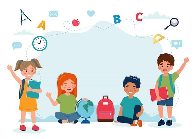 Bambini felici in classe, ritorno al concetto di scuola, simpatici personaggi.