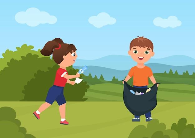 I bambini felici raccolgono la spazzatura nella natura verde del paesaggio estivo i bambini fanno volontariato