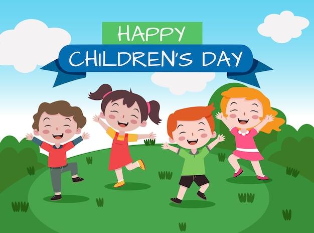 Fumetto felice dell'accumulazione del bambino felice di giorno dei bambini