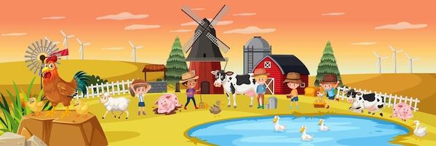 Bambini felici in fattoria