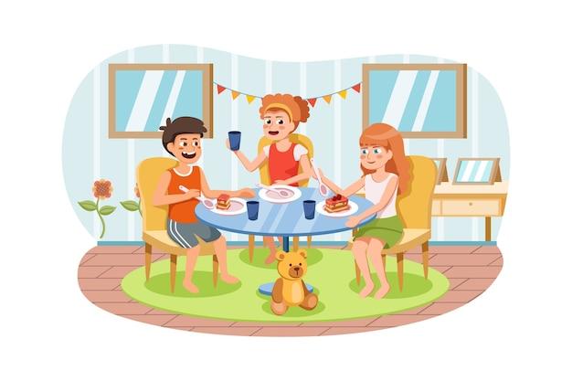 Gruppo di bambini felici che mangia cibo per colazione, pranzo o cena, seduti a tavola insieme.