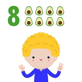 Mano di bambini felici che mostra il numero otto, bambini carini che mostrano i numeri con le dita. il numero di matematica di studio del piccolo bambino conta il concetto di istruzione della frutta, illustrazione isolata materiale di apprendimento
