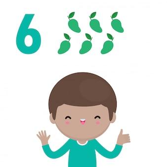 Mano di bambini felici che mostra il numero sei, bambini carini che mostrano i numeri con le dita. il numero di matematica di studio del piccolo bambino conta il concetto di istruzione della frutta, illustrazione isolata materiale di apprendimento