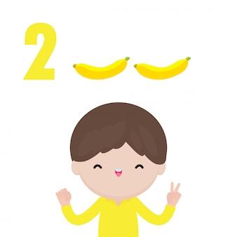 Mano di bambini felici che mostra il numero due, bambini carini che mostrano i numeri con le dita. il numero di matematica di studio del piccolo bambino conta il concetto di istruzione della frutta, illustrazione isolata materiale di apprendimento