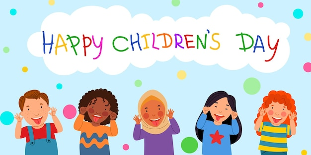 Bambini felici è un giorno una cartolina con bambini che mostrano la lingua una nuvola con un'iscrizione