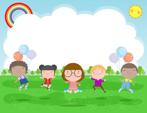 Bambini felici che saltano e ballano nel parco, attività per bambini, bambini che giocano nel parco giochi, modello per brochure pubblicitaria, il tuo testo, piatto personaggio dei cartoni animati divertente, design illustrazione