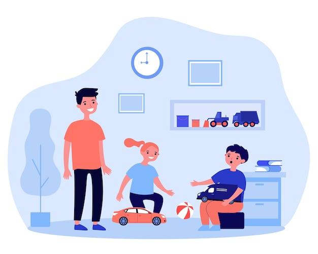 Bambini felici che giocano insieme nella stanza. giocattolo, auto, illustrazione divertente. concetto di gioco e infanzia per banner, sito web o pagina web di destinazione