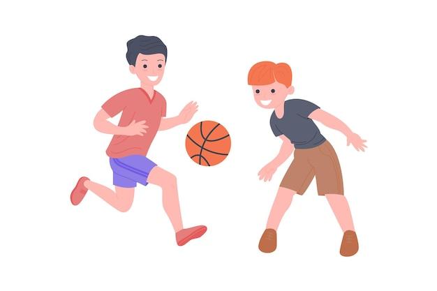 Bambini felici che giocano a sport. ragazzo e ragazza che fanno esercizio fisico. bambini che giocano a basket. infanzia attiva e sana. illustrazione del fumetto di vettore piatto isolato su sfondo bianco