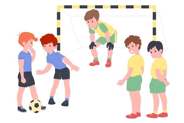 Bambini felici che giocano a sport. ragazzo e ragazza che fanno esercizio fisico. bambini che giocano a calcio. infanzia attiva e sana. illustrazione del fumetto di vettore piatto isolato su sfondo bianco