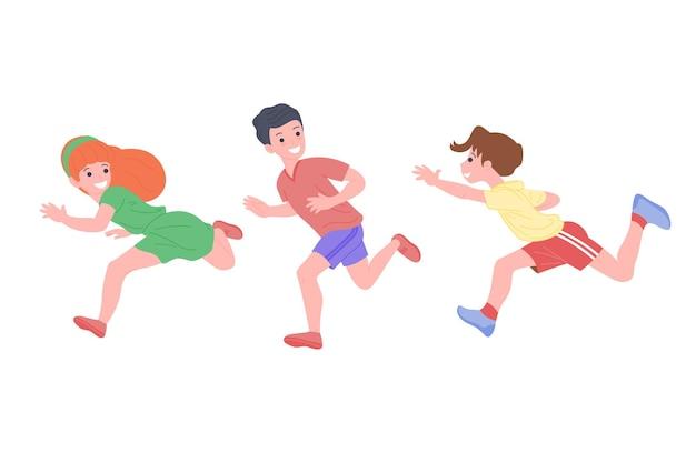 Bambini felici che giocano a giochi sportivi. i ragazzi e la ragazza stanno facendo esercizi fisici. i bambini giocano a rincorrersi. infanzia attiva e sana. cartoon piatto illustrazione vettoriale isolato su sfondo bianco