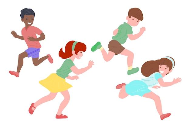 Bambini felici che giocano a giochi sportivi. i ragazzi e la ragazza stanno facendo esercizi fisici. i bambini giocano a rincorrersi. infanzia attiva e sana. set di illustrazione vettoriale piatto isolato su sfondo bianco