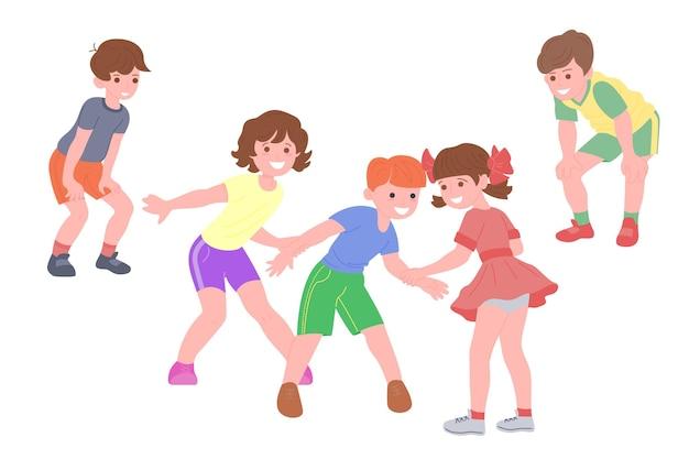 Bambini felici che giocano a giochi sportivi. i ragazzi e le ragazze stanno facendo esercizi fisici. i bambini giocano a rincorrersi. infanzia attiva e sana. set di illustrazione vettoriale piatto isolato su sfondo bianco