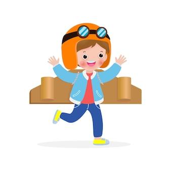 Bambini felici che giocano cartone aereo giocattolo, ragazzino carino in un costume da astronauta, ritratto di bambino divertente su uno sfondo bianco illustrazione isolato