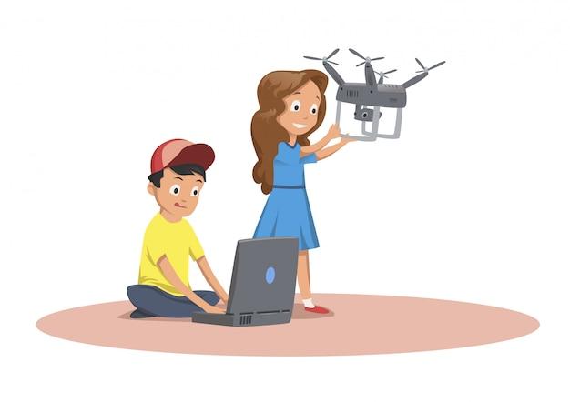 Bambini felici che giocano con il drone volante.